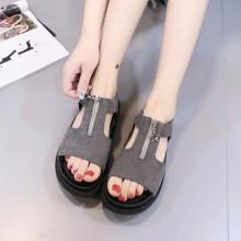 Women's Matte Suede Zipper Non Slip Everyday Sandals