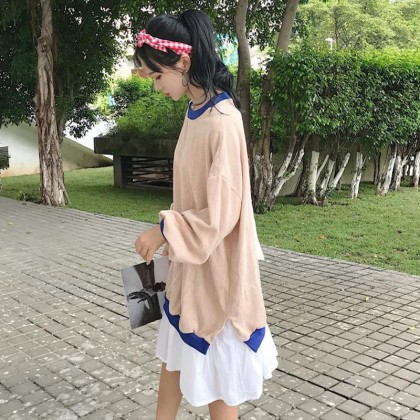 Women Loose Color Matching Two Long Sleeved Dress