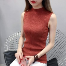Women's Half-High Collar Knit Slim Fit Sleeveless Top Shirt