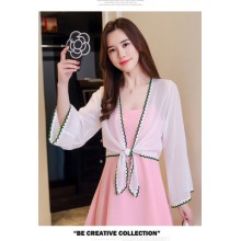 Women's Wear with Chiffon Dress Loose Long Sleeve V-Neck Cardigan