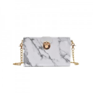 Women Chain Shoulder Bag Marble Pattern Fashion Chic Dinner Bag