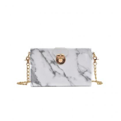 Women Chain Shoulder Bag Marble Pattern Fashion Chic Dinner Bag