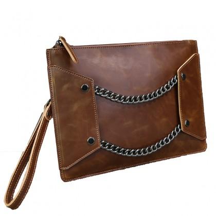 Men's Chain Handbag Envelope Clutch Bag File Package Bag