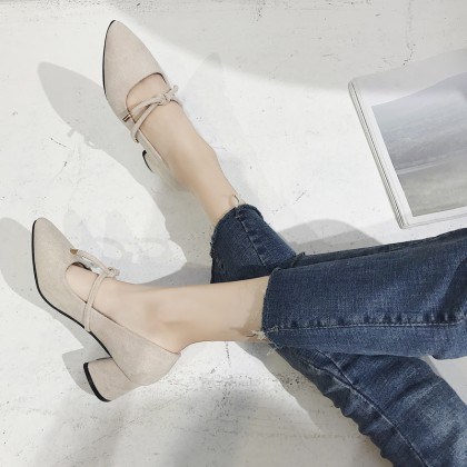 Women High Heels Office Pointed Shoes Thick Square Heels Ladies Fashion Shoes