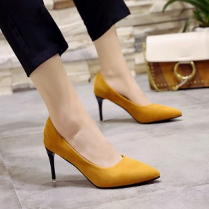 Women High Heels Office Sexy Black Work Pointed Shoes