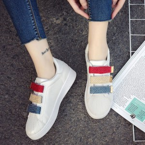 Women's Velcro White Shoes Street Shoes Student Board Shoes Sneakers