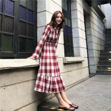 Women Retro Plaid Doll Skirt Long Skirt Long Sleeve Round Neck Dress
