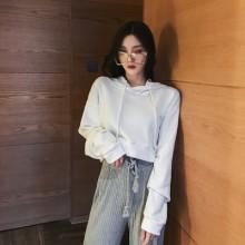 Women's Retro Drawstring Navel Short Sweater Hooded Long Sleeved Sweater