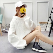 Women Student Hooded Sweater Velvet Thick Shirt Loose Jacket
