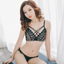 Women No Steel Thin Embroidered V-Style Bra Set Sexy Lace Underwear Set