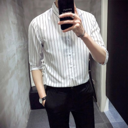 Men's Striped Short-Sleeved Slim Fit Collared Shirt Plus Size