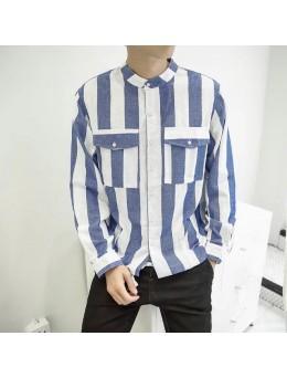 Men's Vertical Striped Collared Shirt Long-Sleeved Slim Casual Shirt
