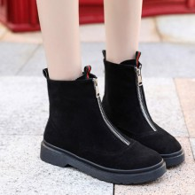 Women Martin Boots Flat Student  Casual Boots Low Heel Thick Bottom Retro Boots