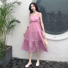 Women Summer Large Size High Waist Dress Thin V-Neck Waist Sling Dress