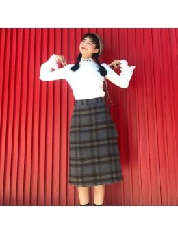 Women's Retro High Waist Plaid Woolen Skirt Fashion Long Skirt