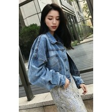 Women Denim Jacket Bat Sleeve Short Loose Long Sleeve Jacket