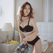 Women Sexy Underwear Suit Girl Without Steel Ring Thickening Gathered Bra Set