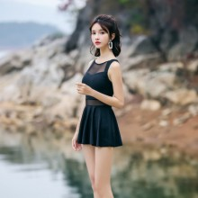 Women One Piece Conservative Boxer Skirt Small Chest Covered Belly Swimsuit