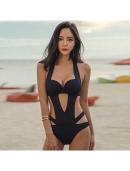 Women Sexy Black Hollow Size Chest Steel Plate Bikini One Piece Strap Swimwear