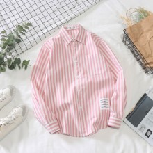Men's Long Sleeved Shirt Thin Vertical Striped Collared Shirt