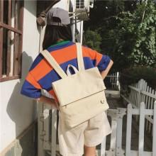 Women's Simple Student Bag Shoulder Bag Canvas Backpack
