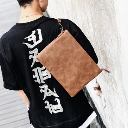 Men's Retro Clutch Bag Leather Wrist Bag Envelope File Package Bag
