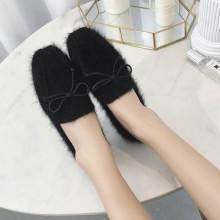 Women Velvet Peas Shoes Flat Shoes Fur Square Head Plus Size Shoes