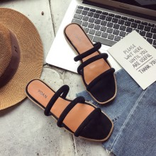 Women's Summer Square Head Slippers Open Toe Flat Sandals