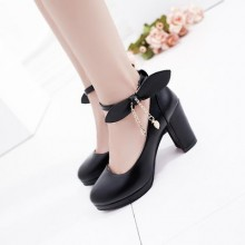 Women Round Head Shoes Shallow Mouth Buckle Bow Waterproof Platform High Heels