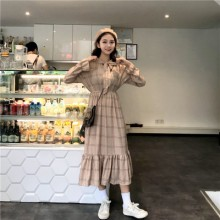 Women Retro Slim Waist Ruffled Trumpet Sleeves Long Dress