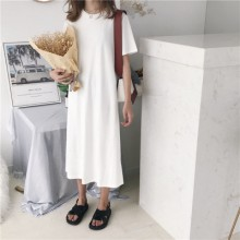 Women Loose Thin Long T-Shirt  Skirt Students Solid Color Short-Sleeved Dress