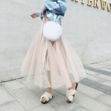 Women's Retro Gold Velvet Pleated Skirt Beaded Elastic Waist Skirt
