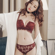 Women No Steel Ring Sexy Lace Side Bra Half Cup Small Chest Underwear Suit