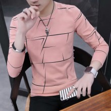 Men's Long Sleeved T-Shirt Round Neck Tees Slim Fit Bottoming Sweater