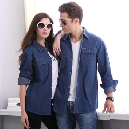 Men's Denim Shirt Couple Shirt Jacket Overalls  Long Sleeve Plus Size Shirt