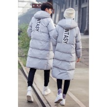 Men's Thick Cotton Long Section Jacket Cotton Pad Couples Winter Jacket