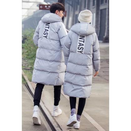 Men's Thick Cotton Long Section Jacket Cotton Pad Couples Winter Jacket
