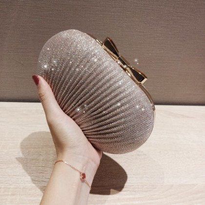 Women Shiny Pleated Metal Bow Goose Egg Clutch Evening Dinner Bag