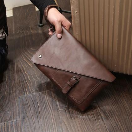 Men's Clutch Bag Large Capacity Handbag Magnetic Buckle Casual Bag