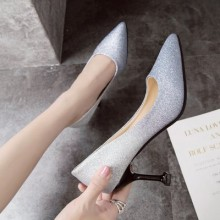 Women Shallow Mouth High Heels Pointed Stiletto Silver Wedding Shoes