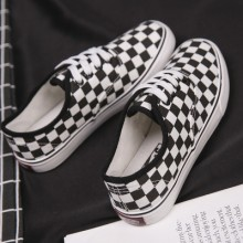 Men's Black and White Plaid Shoes Street Student Shoes Thick Bottom Canvas Shoes