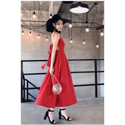 Women Summer Dress Halter Bow Tie Waist Slimming Holiday Dress