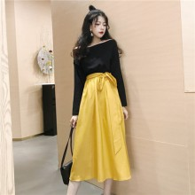 Women High Waist Slim Bow Tie Large Dress Long Sleeve Off Shoulder Dress