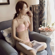Women Underwear Set No Rims Back Cross Straps Hanging Neck Ladies Bra