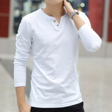 Men's Autumn Long-Sleeved T-Shirt Solid Color V-Neck Slim Cotton Trend Plus Size