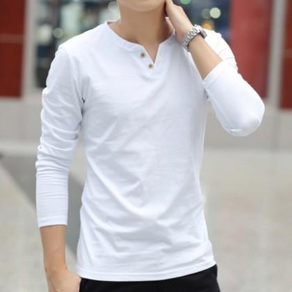 Men's Autumn Long-Sleeved T-Shirt Solid Color V-Neck Slim Cotton Trend Plus Size