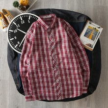 Men's Simple Plaid Long-Sleeved Shirt Collared Checkered Casual Clothes