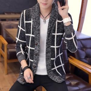 Men's Long Sleeved Coat Knit Cardigan Sweater  Plus Size Trend Cloak