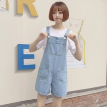 Women College Loose Thin Light Color Denim Casual Bib Shorts Jumpsuit