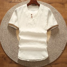 Men's Cotton Linen Short Sleeved T-Shirt V-Neck Chinese Style Plus Size Shirt